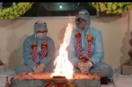 A Couple in Ratlam Married with PPE suits after Groom Tested Covid Positive